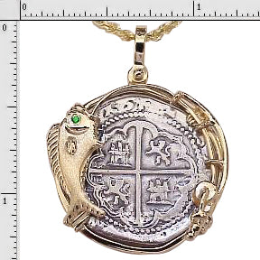 #1-1533DF Atocha Two Reale Coin Replica Pendant 14K Solid Gold Dolphin Fish Bezel Sterling Silver Coin Imitation Emerald