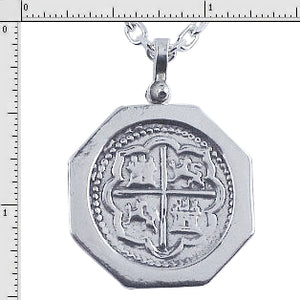 #7-1593 Atocha Replica 4 Reale Coin Pendant Sterling Silver Large Port Hole Bezel