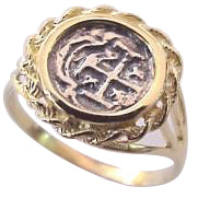 #1-605 Ring Ladies 1/4 Reale Atocha Coin Replica  14K Solid Gold Mounting Sterling Silver Coin