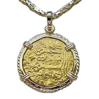 solid gold coin pendant