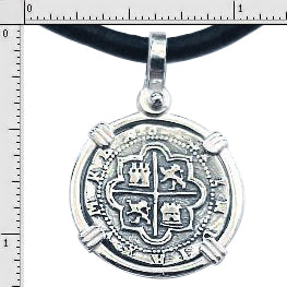 #7-7713  Atocha 1 Reale  Coin Replica Pendant Sterling Silver Bezel  Sterling Silver Coin