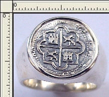 #7-7723  Atocha 1 Reale  Coin Replica Ring Sterling Silver Mount
