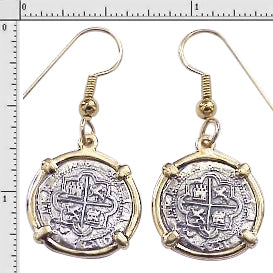 #1-7724 Earrings 1 Reales Atocha 1/2 Reale Replica  Coins 14K Solid Gold Bezels  Sterling Silver Coins