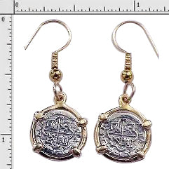 Earrings 1/2 Reales #1-7725 Replica Atocha 1/4 Reale Coins Made With Atocha Silver 14K Solid Gold Bezels