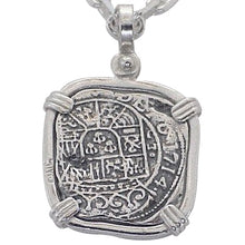 #7-7806  Atocha One Reale  Coin Replica Pendant Sterling Silver Bezel  Sterling Silver Coin Chain Not Included