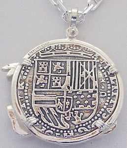#7-7807  Atocha 8 Reale Coin Replica Pendant Sterling Silver Conquistador Treasure Chest Bezel Sterling Silver Coin Chain Not Included