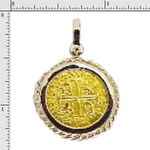 Replica Atocha Two Escudo Lima Mint Coin Made With 24K Gold 14K Solid Gold Bezel No Atocha Gold