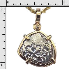 #1-MB160 Replica Atocha One Reale Coin Replica Pendant 14K Solid Gold Bezel  Sterling Silver Coin