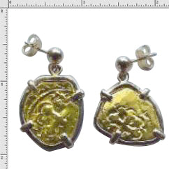 #1-MB168-24K Earrings Replica One Escudo Atocha Coins Made With Pure 24K Gold 14K Solid Gold Bezel No Atocha Gold