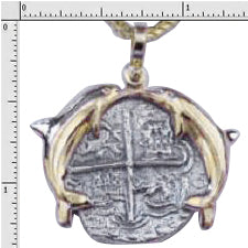 #1-MB177 Atocha Four Reale Coin Replica Pendant 14K Solid Gold Kissing Dolphin Bezel  Sterling Silver Coin