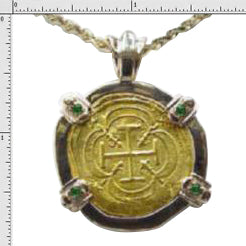 Pendant Replica 8 Escudo Coin  24K Gold  14K Solid Gold Bezel Four Synthetic 2.5 mm Emeralds No Atocha Gold
