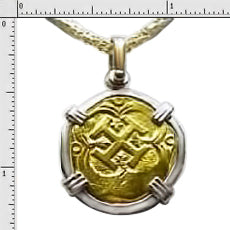 Pendant Replica 2 Escudo   24K  Gold  14K Solid Gold Bezel No Atocha Gold