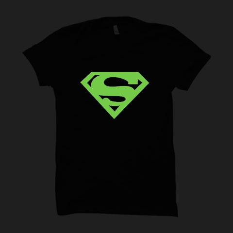 Superman Logo Black-Half Sleeve (Glow In The Dark)