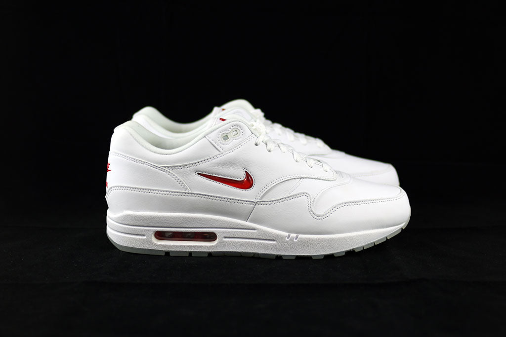 cheap for discount 962a9 3f057 Nike Air Max 1 Jewel OG White Red - The Sneakers Plug