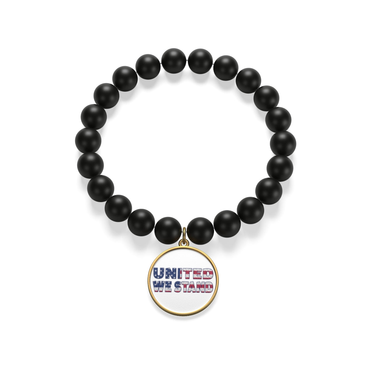 "Sterling Silver or 18K Gold Plated- ""United We Stand"" Matte Onyx Bracelet"