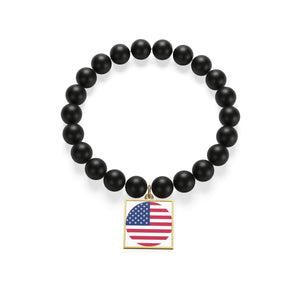Sterling Silver or 18K Gold Plated- United States Matte Onyx Bracelet