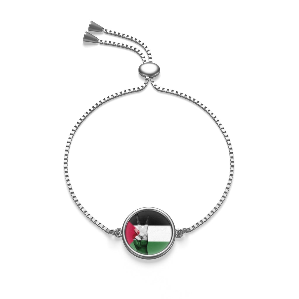Sterling Silver or 18K Gold Plated- Palestine Peace Flag Box Chain Bracelet