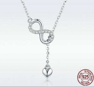 .925 Sterling Silver Infinity Love Heart Pendant Necklace