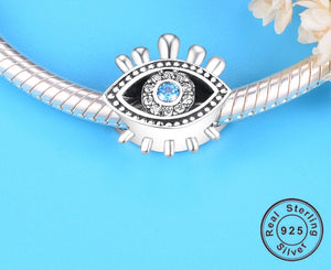 Sterling Silver Abstract Blue Evil Eye Charm