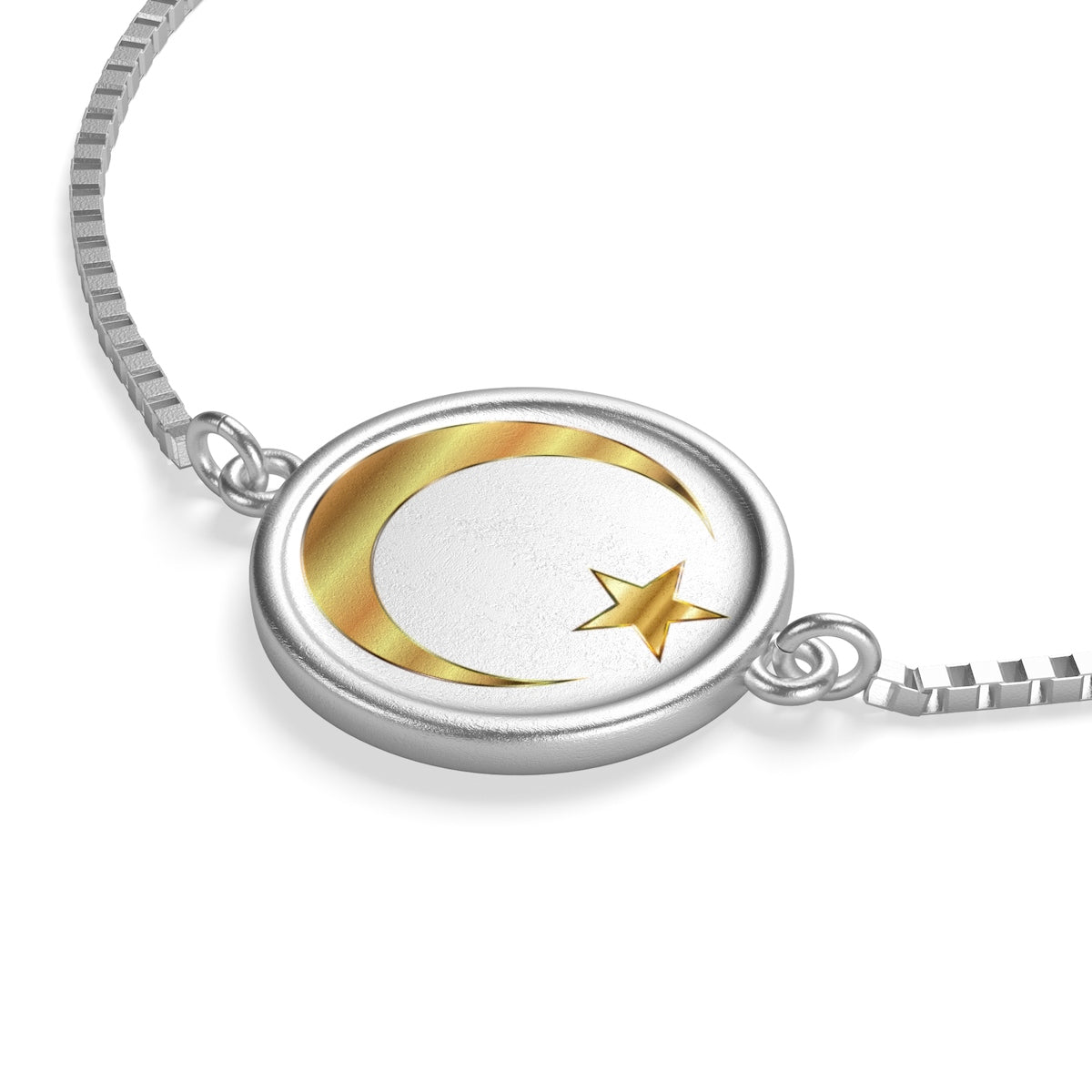 Sterling Silver or 18K Gold Plated- Crescent and Star Box Chain Bracelet