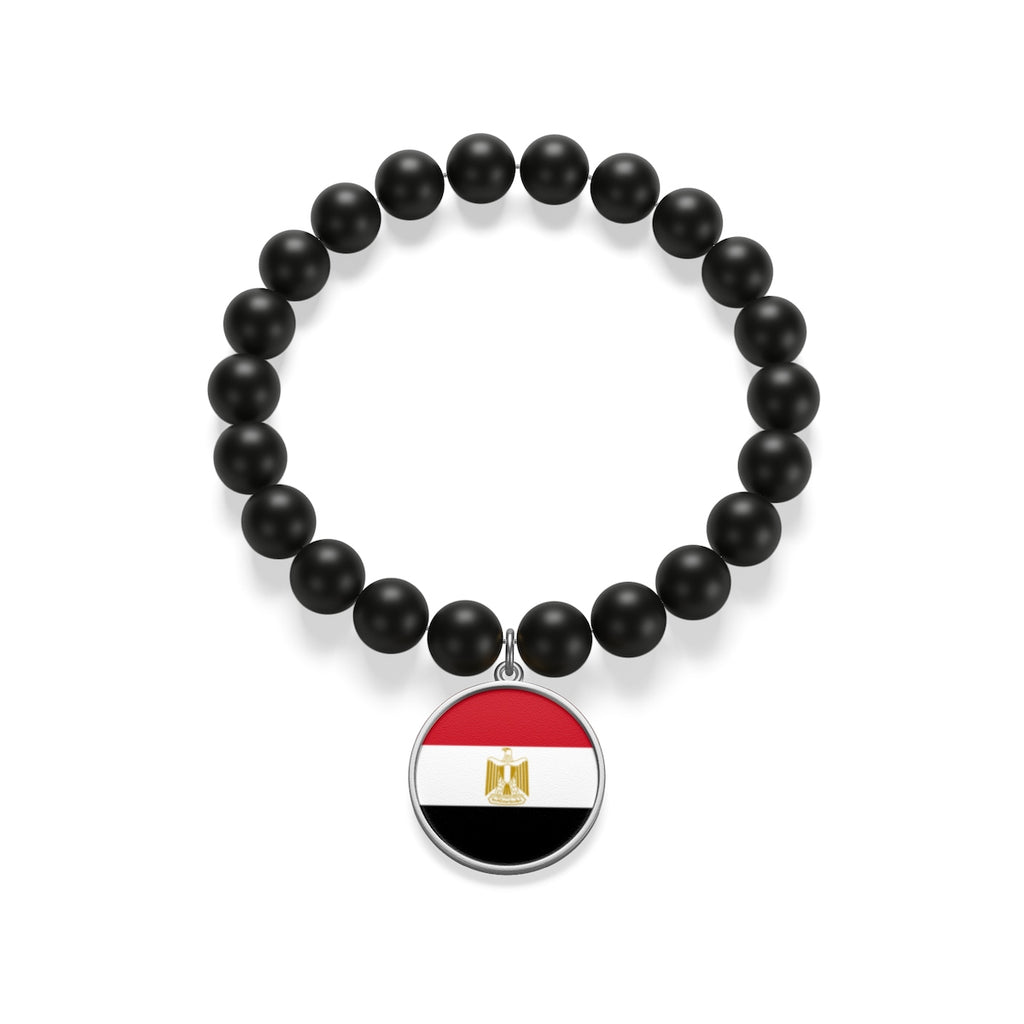 Sterling Silver or 18K Gold Plated- Egypt Matte Onyx Bracelet