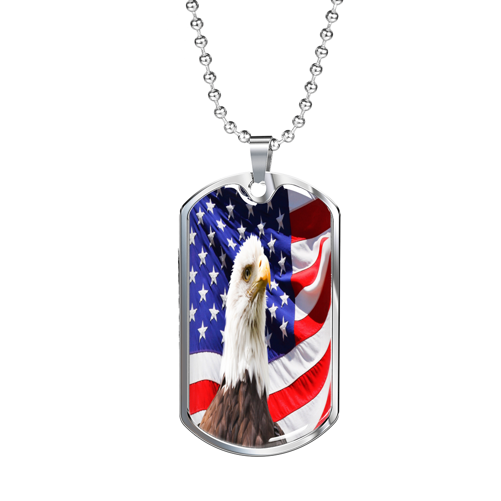 American Eagle Flag Military Tag