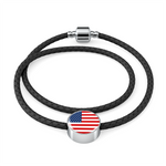 American Flag Circle Charm Leather Bracelet