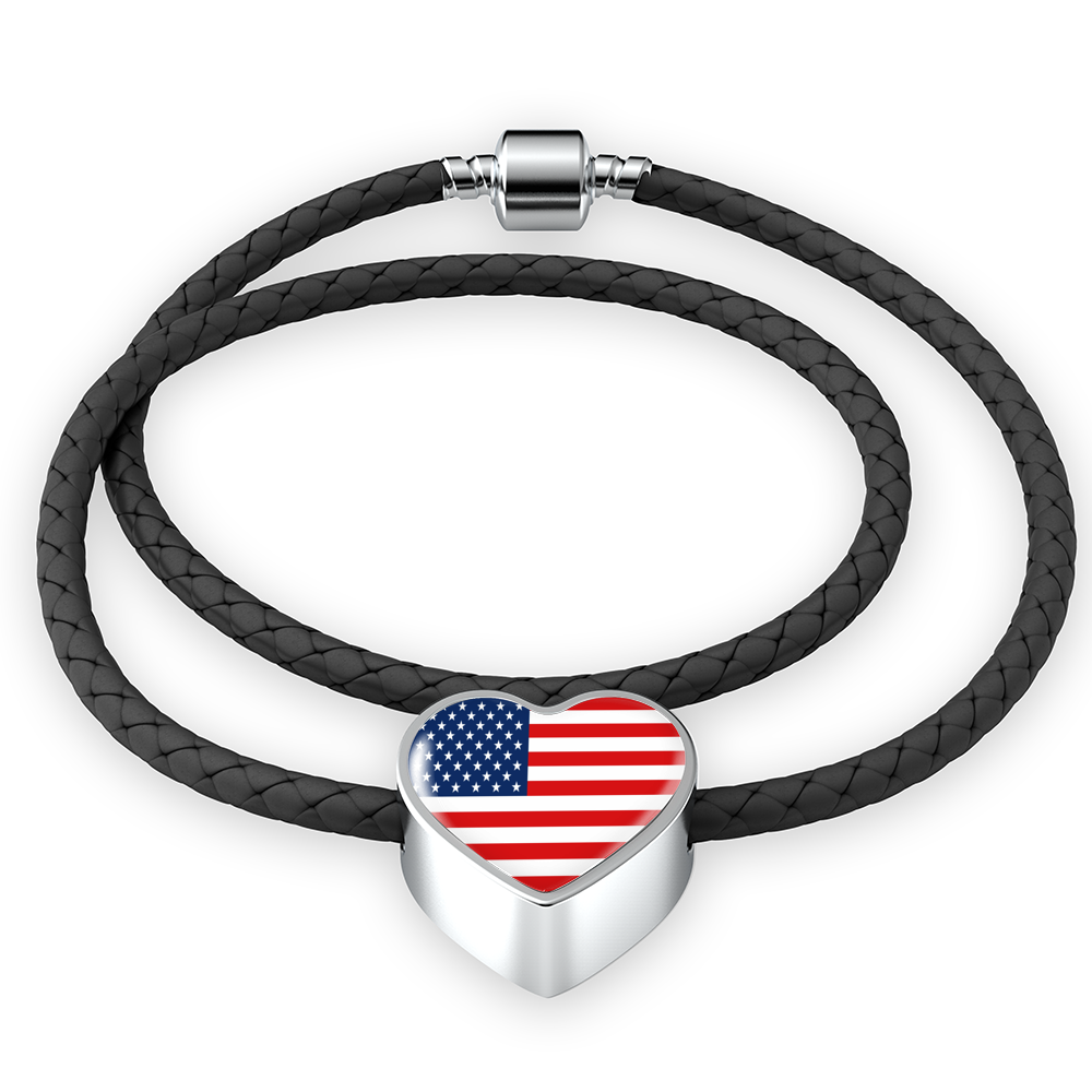 American Flag Heart Leather Bracelet