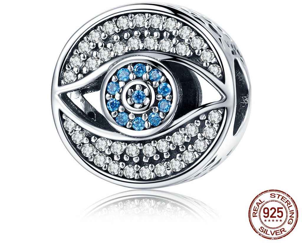 Sterling Silver Lucky Blue Evil Eye Round Charm
