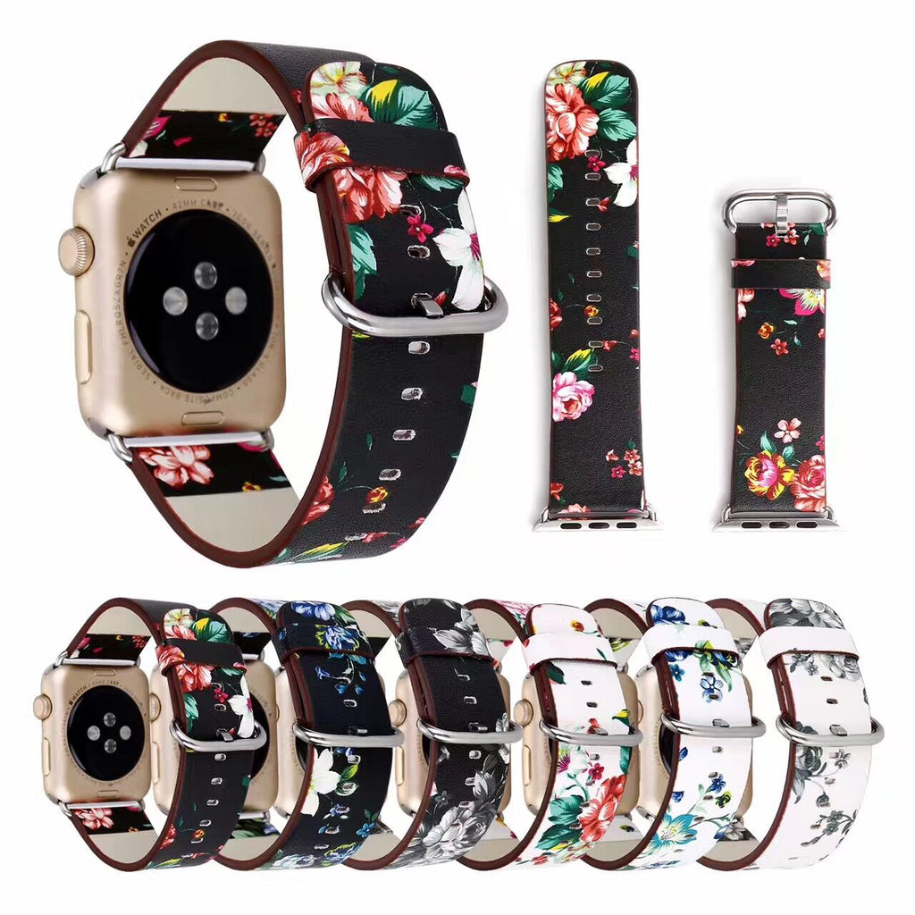 Genuine Leather Flower Design Band For Apple Watch