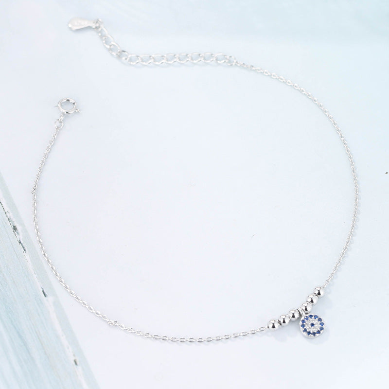 Sterling Silver CZ Blue Evil Eye Crystal Link Chain Bracelet