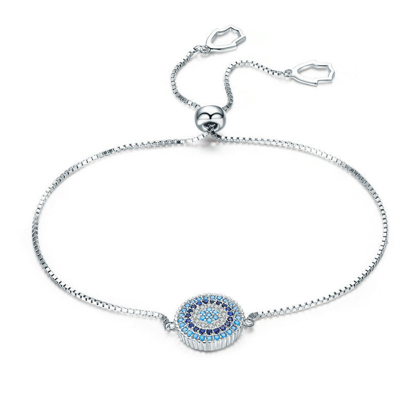 .925 Sterling Silver Luxury Round Blue Lucky Eyes Power CZ Adjustable Link Chain Bracelet