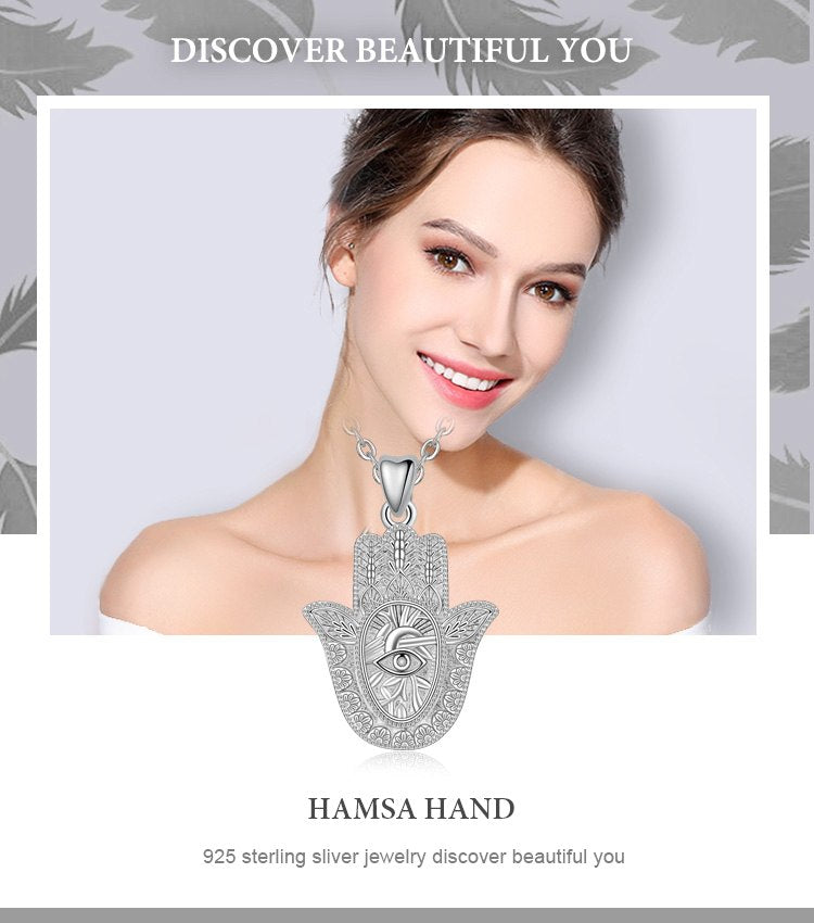 Sterling Silver Hamza Hand Pendant Necklace