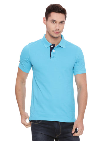 Classic Blue polo in slim fit.