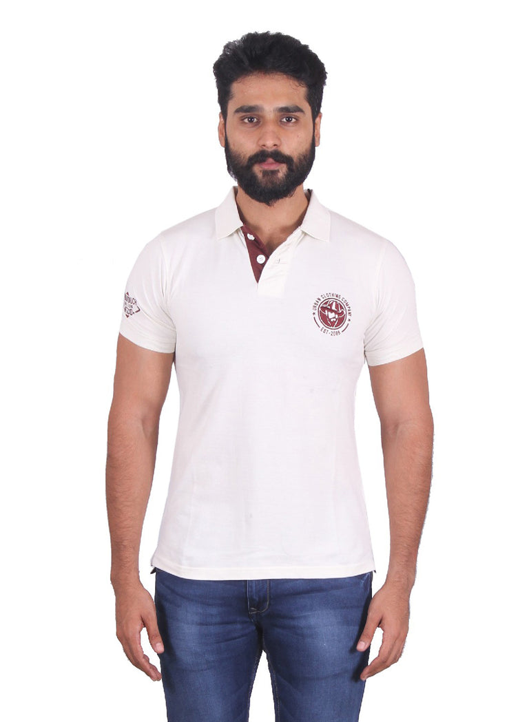 Solid white polo with brick red contrast - urban clothing co.