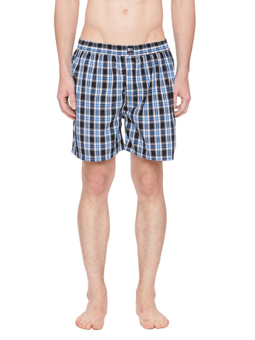 Black and blue checks boxer