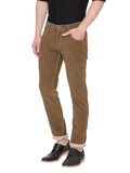 Khaki casual mid raise trouser