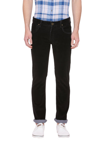 Black casual mid raise trouser