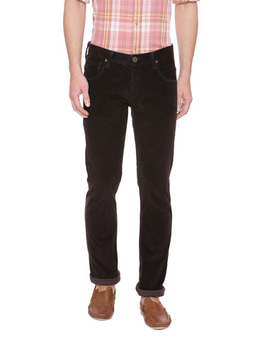 Brown casual mid raise trouser