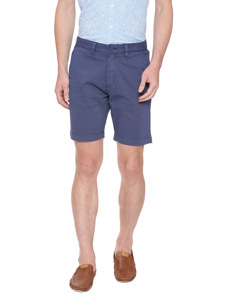 Self design shorts in color Blue