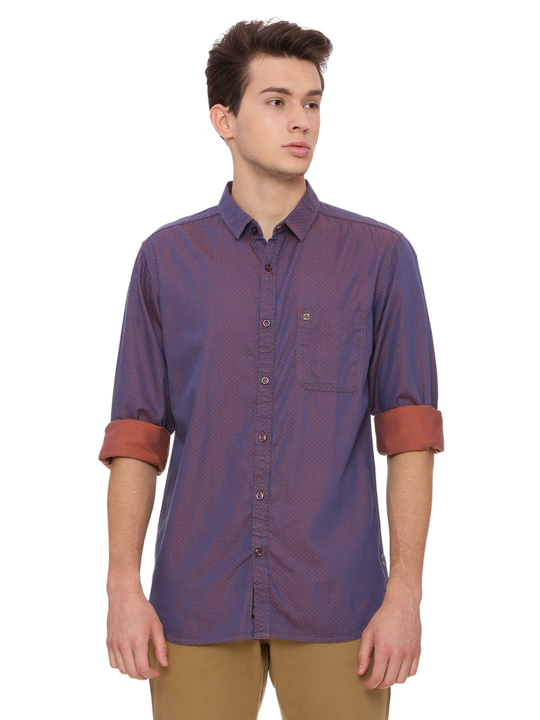 Orange DOBBY Slim Fit Casual Shirt - urban clothing co.