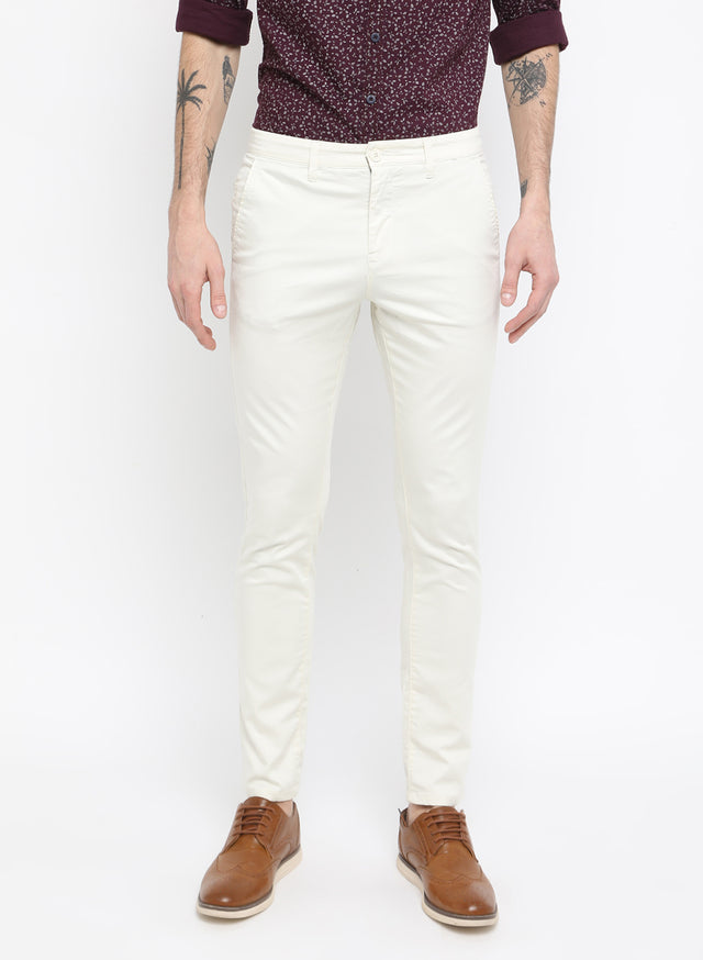 ecru casual mid raise trouser