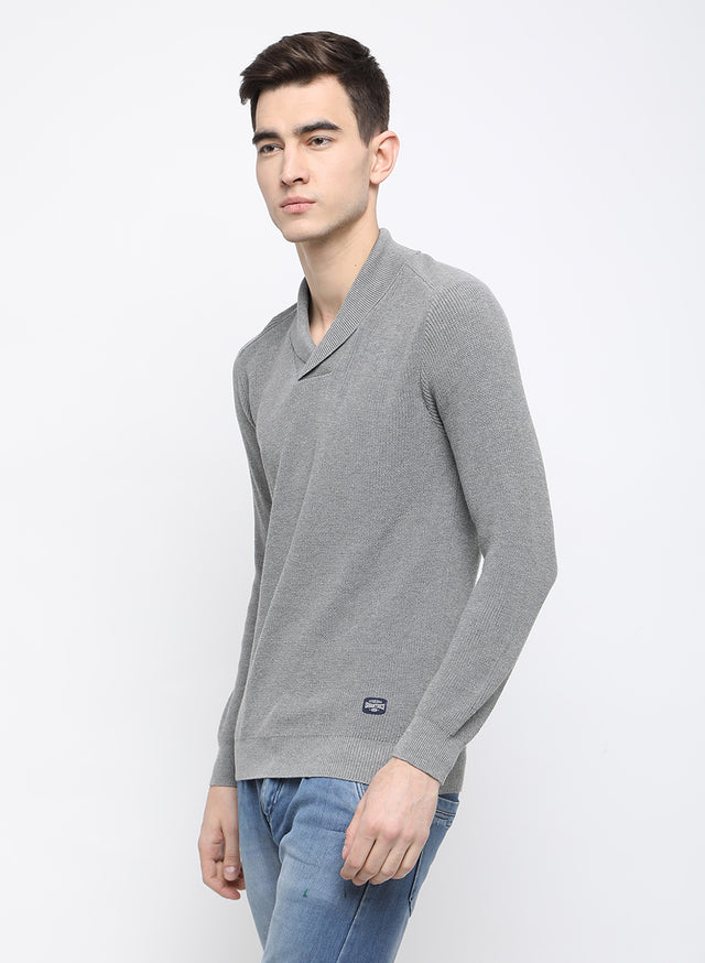 GREY AND MELANGE STRIPE SWEATER - urban clothing co.