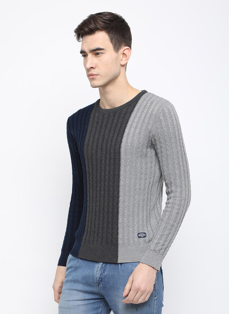navy/melange/grey stripe sweater - urban clothing co.
