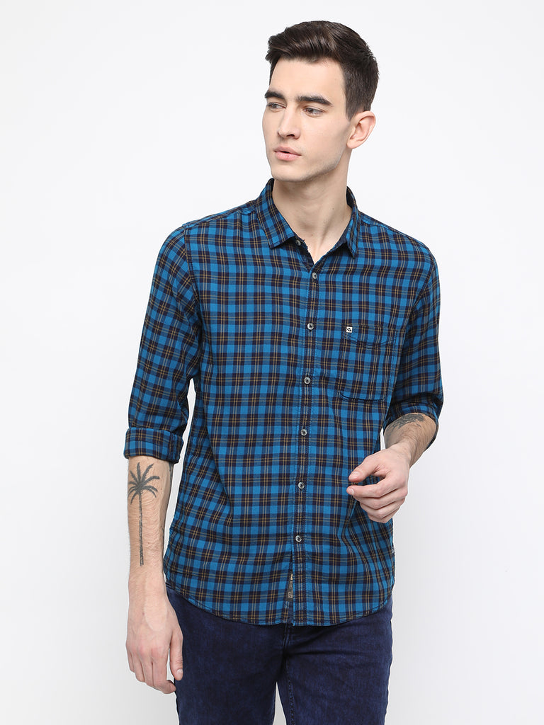 Blue and navy casual shirt - urban clothing co.