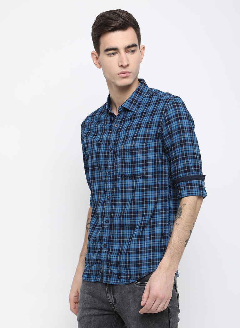 blue checks slim fit casual shirt - urban clothing co.