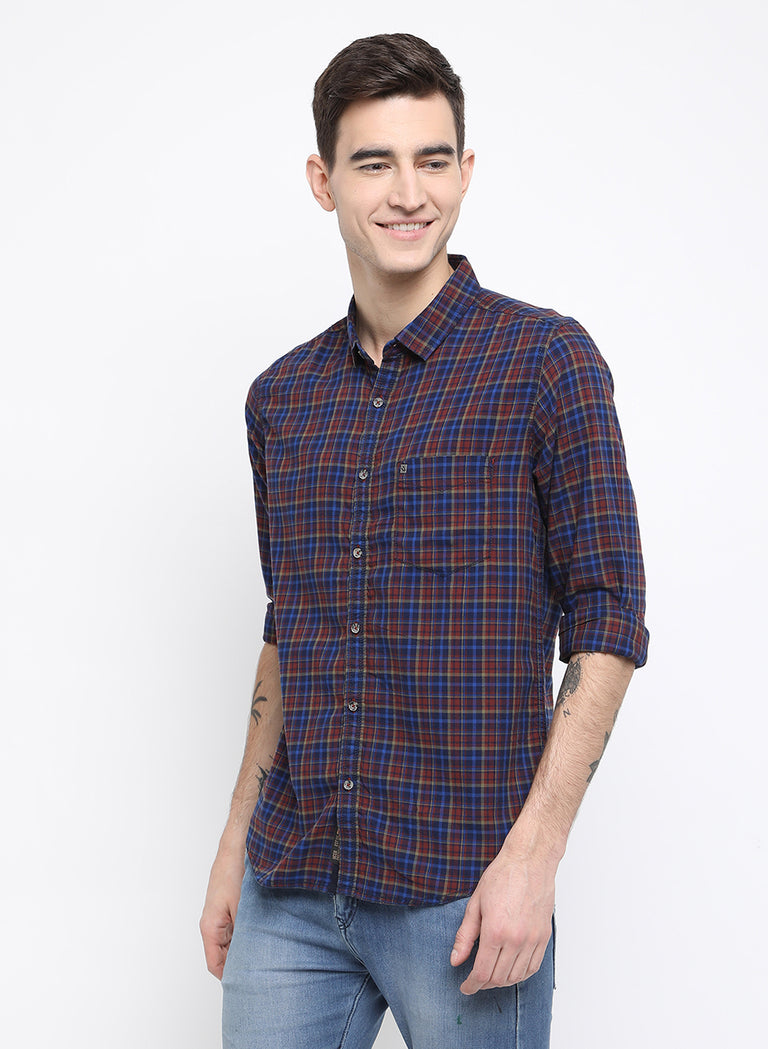 Navy and brick red checkered shirt - urban clothing co.