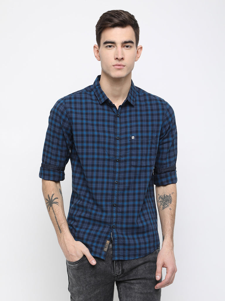 Navy and blue checkered shirt