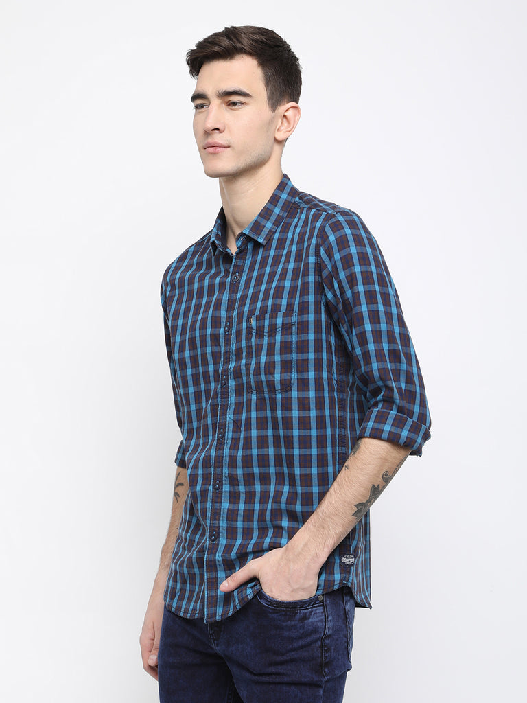 Navy and blue checkered shirt - urban clothing co.