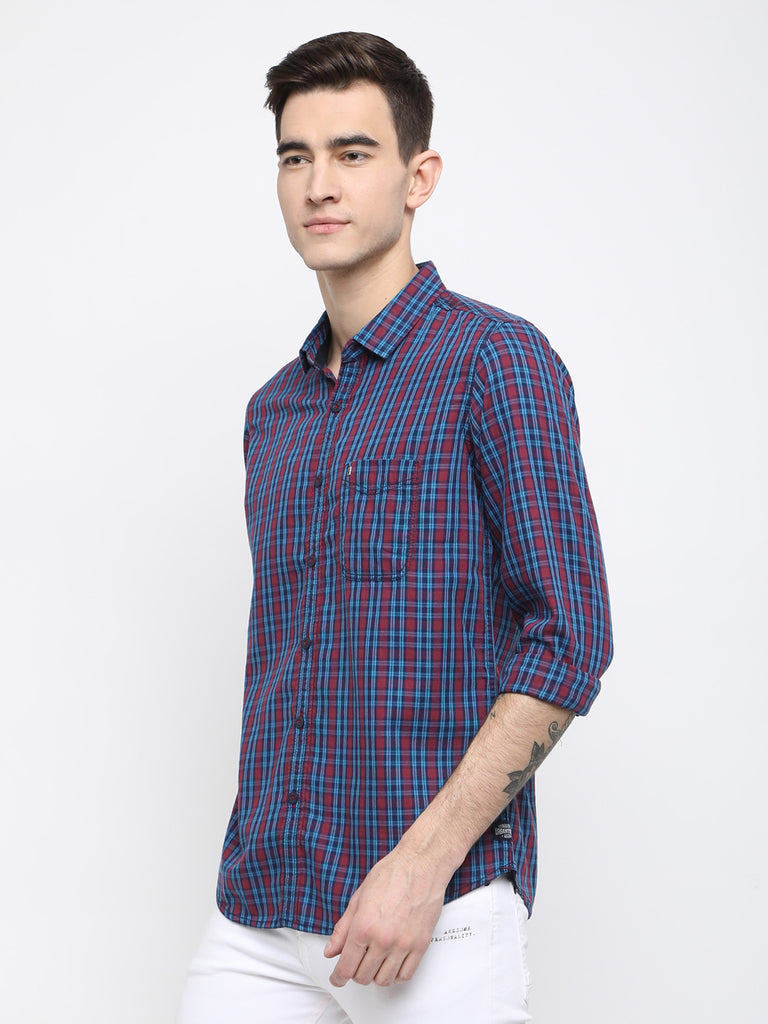Pink and blue checkered casual shirt